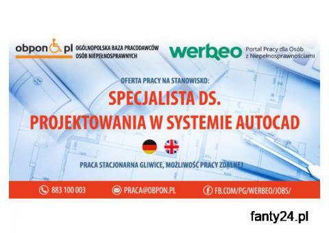 Specjalista ds. projektowania w systemie Autocad -praca w Gliwicach, lub praca zdalna