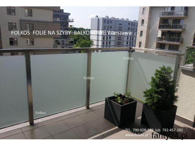 Folie na szyby balkonowe- oklejanie balkonów Folia mat zewnętrzny Warszawa